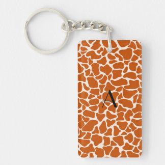 Monogram orange giraffe print rectangle acrylic key chain