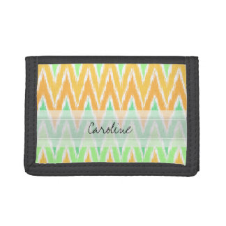 Monogram Orange Green Ikat Chevron Zig Zag Pattern Trifold Wallet
