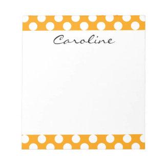 Monogram Orange White Trendy Fun Polka Dot Pattern Memo Notepad