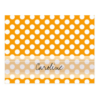 Monogram Orange White Trendy Fun Polka Dot Pattern Postcard