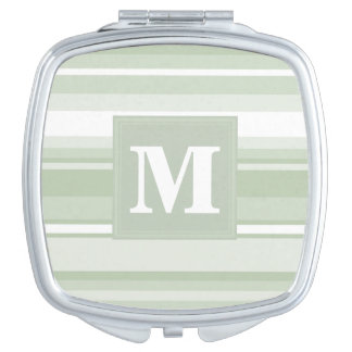 Monogram pale green stripes compact mirror