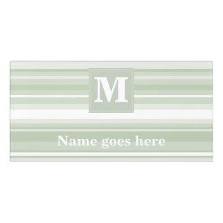 Monogram pale green stripes door sign