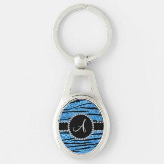 Monogram pastel blue glitter zebra stripes circle key chains