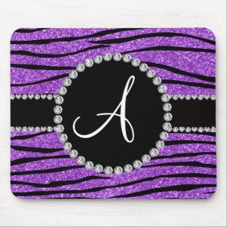 Monogram pastel purple glitter zebra stripes mouse pad