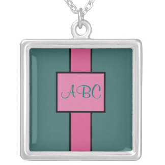 Monogram - Pink and Aqua - necklace
