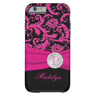 Monogram Pink Black Silver Damask iPhone 6 case