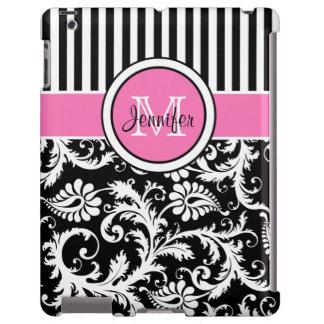 Monogram Pink, Black, White Striped Damask iPad iPad Case