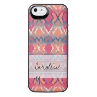 Monogram Pink Blue Gradient Ikat Diamond Pattern iPhone SE/5/5s Battery Case
