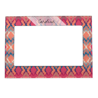 Monogram Pink Blue Gradient Ikat Diamond Pattern Magnetic Frame