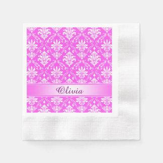 Monogram Pink Damask Paper Serviettes
