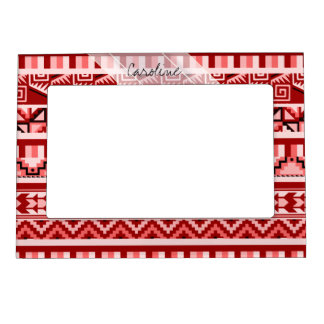 Monogram Pink Geometric Aztec Tribal Print Pattern Magnetic Picture Frame