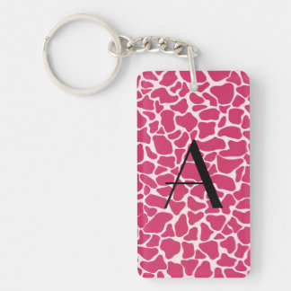 Monogram pink giraffe print rectangular acrylic key chain