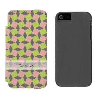 Monogram Pink Green Geometric Ikat Square Pattern Incipio Watson™ iPhone 5 Wallet Case