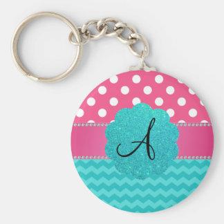 Monogram pink polka dots turquoise chevrons keychain