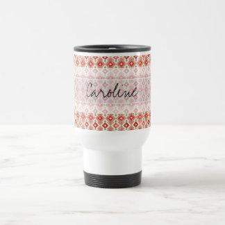 Monogram Pink Red Geo Tribal Ikat Diamond Pattern Coffee Mugs