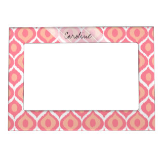 Monogram Pink Retro Geometric Ikat Tribal Pattern Magnetic Picture Frame