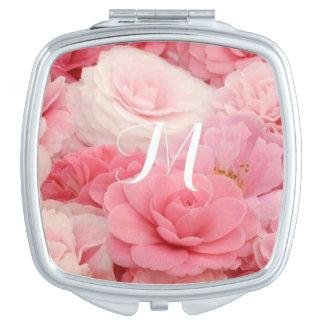 Monogram pink rose Compact Mirror