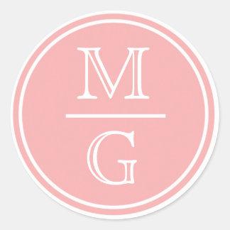 Monogram Pink Wedding Sticker