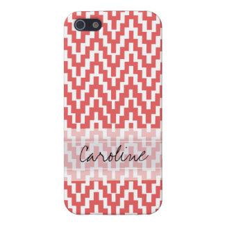 Monogram Pink White Ikat Chevron Zig Zag Pattern iPhone 5/5S Case
