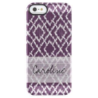 Monogram Plum Purple Tribal Ikat Diamond Pattern Clear iPhone SE/5/5s Case