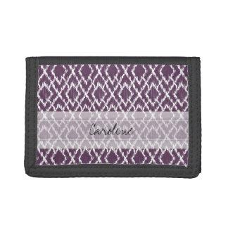 Monogram Plum Purple Tribal Ikat Diamond Pattern Trifold Wallet