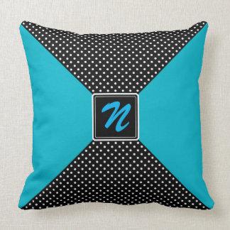 Monogram Polka Dots and Aqua Pillows