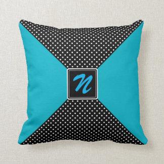 Monogram Polka Dots and Aqua Cushions