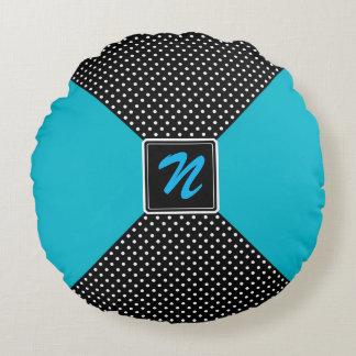 Monogram Polka Dots and Aqua Round Cushion