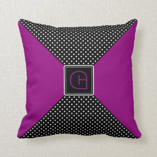 Monogram Polka Dots and Lilac Throw Pillow