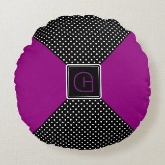 Monogram Polka Dots and Lilac Round Cushion