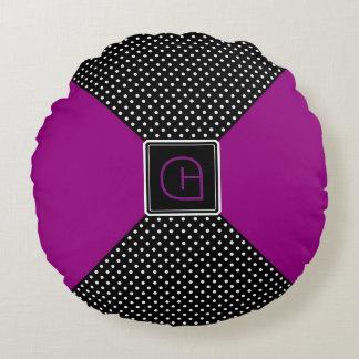 Monogram Polka Dots and Lilac Round Cushion