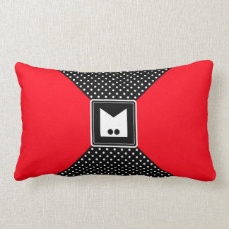 Monogram Polka Dots and Red Throw Pillow