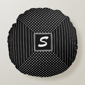 Monogram Polka Dots and Stripes Round Pillow