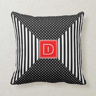 Monogram Polka Dots and Stripes Throw Cushions