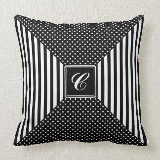 Monogram Polka Dots and Stripes Throw Pillow