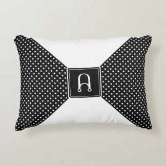 Monogram Polka Dots and White Accent Pillow