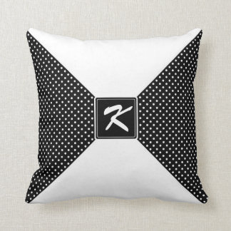 Monogram Polka Dots and White Cushion
