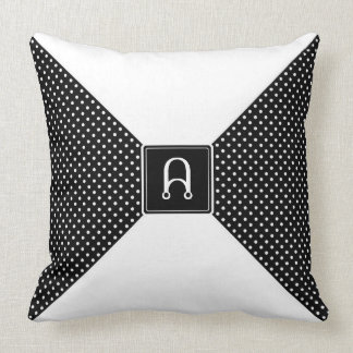 Monogram Polka Dots and White Throw Pillow