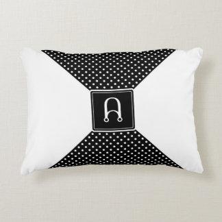 Monogram Polka Dots and White Decorative Cushion