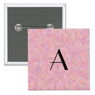 Monogram pretty pink mosaic squares 15 cm square badge