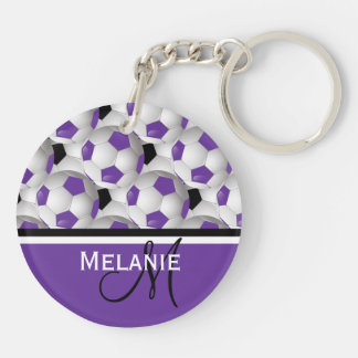 Monogram Purple Black Soccer Ball Pattern Double-Sided Round Acrylic Key Ring