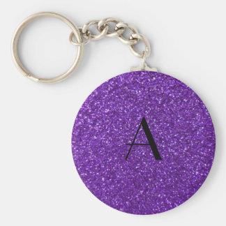 Monogram purple glitter keychains