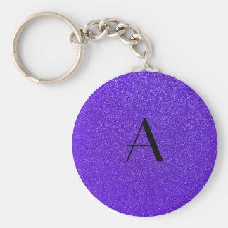 Monogram purple glitter keychain