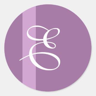 Monogram Purple Stripe Wedding Sticker
