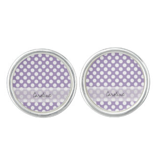 Monogram Purple White Trendy Fun Polka Dot Pattern Cuff Links