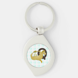 Monogram Q Cartoon Pony Customized Silver-Colored Swirl Key Ring