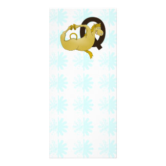 Monogram Q Cartoon Pony Personalized Full Colour Rack Card