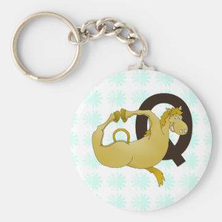 Monogram Q Cartoon Pony Personalized Key Ring