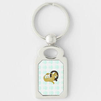 Monogram Q Cartoon Pony Personalized Silver-Colored Rectangle Key Ring