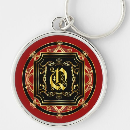 Monogram Q Fits all Customize Edit For Back Color Keychain